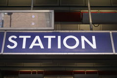 Stations-Zeichen Stockfoto
