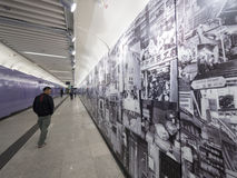 Stationsgrafik MTR Sai Ying Pun - die Ausdehnung der Insel-Linie zum Westbezirk, Hong Kong Stockfoto