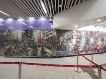Stationskonstverk för MTR Sai Ying Pun - förlängningen av ölinjen till det västra området, Hong Kong Royaltyfri Fotografi
