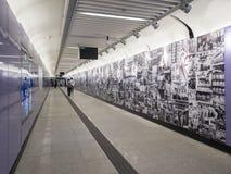 Stationskonstverk för MTR Sai Ying Pun - förlängningen av ölinjen till det västra området, Hong Kong Royaltyfria Bilder