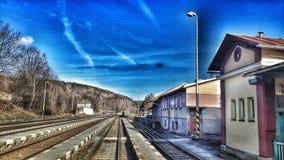 Stationspoorweg stock afbeelding