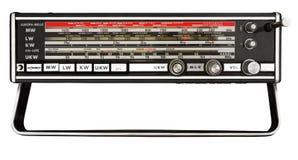 Stationsscale av den gammala bärbara radion Arkivbild