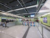 Stationszusammentreffen MTR HKU - die Ausdehnung der Insel-Linie zum Westbezirk, Hong Kong Stockfotografie
