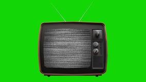 Statisch lawaai op een uitstekende oude TV met groene het schermachtergrond stock videobeelden