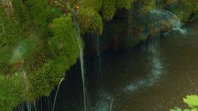 Statische Froschperspektive des einzigartigen Bigar-Wasserfalls in Rumänien stock video