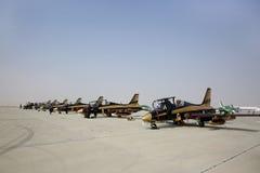 Statische vertoning van de vliegtuigen van het de vertoningsteam van Al Fursan de V.A.E Stock Afbeeldingen