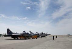 Statische vertoning van Indisch HAL Tejas in de Internationale Lucht van Bahrein Royalty-vrije Stock Foto