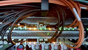 Statische video van optische kabels in de serverruimte stock videobeelden
