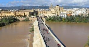 Statisk sikt på den Puente Romanobron i Cordoba stock video