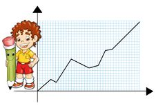 Statistic. Colored illustration of a child with a pencil that marks the statistic of profit Royalty Free Stock Image