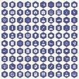 100 statistic data icons hexagon purple. 100 statistic data icons set in purple hexagon isolated vector illustration Stock Photos