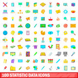 100 statistic data icons set, cartoon style. 100 statistic data icons set in cartoon style for any design vector illustration Stock Images