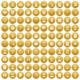 100 statistic data icons set gold. 100 statistic data icons set in gold circle isolated on white vector illustration Stock Photo