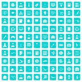 100 statistic data icons set grunge blue Royalty Free Stock Photos