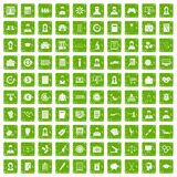 100 statistic data icons set grunge green. 100 statistic data icons set in grunge style green color isolated on white background vector illustration Royalty Free Stock Photography