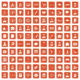 100 statistic data icons set grunge orange. 100 statistic data icons set in grunge style orange color isolated on white background vector illustration Royalty Free Stock Photos