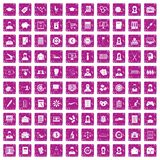 100 statistic data icons set grunge pink Royalty Free Stock Image