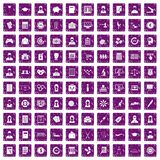 100 statistic data icons set grunge purple Royalty Free Stock Photo