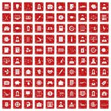 100 statistic data icons set grunge red. 100 statistic data icons set in grunge style red color isolated on white background vector illustration Stock Photos