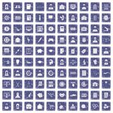 100 statistic data icons set grunge sapphire. 100 statistic data icons set in grunge style sapphire color isolated on white background vector illustration Royalty Free Stock Photo
