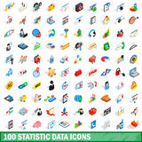 100 statistic data icons set, isometric 3d style Stock Images