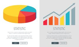 Statistic Design with Pie Chart and Bar Graph. Statistic representation design with colorful pie chart and bar graph. Vector illustration of two multicolored web Royalty Free Stock Images