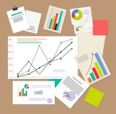 Statistic Documents, Colorful Vector Illustration. Varied infographics and schedules, statistic diagram, colorful papers and graph, strategy text Royalty Free Stock Image