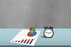 Statistic drawing and 3d chart with alarm clock Royalty Free Stock Image