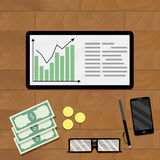 Statistic economic graphic. Vector result analysis graph market profit illustration Stock Photo