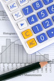 Statistic graph, calculator and pencil Royalty Free Stock Image