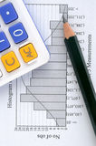 Statistic graph, pencil and calculator Royalty Free Stock Photos