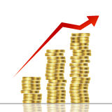 Statistic graphic. With golden coins Stock Images