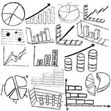 Statistic graphs sketch. Collection of statistic graphs sketch icons over white background Royalty Free Stock Images