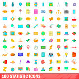 100 statistic icons set, cartoon style Stock Images