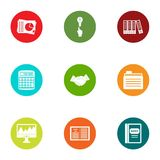Statistic icons set, flat style. Statistic icons set. Flat set of 9 statistic vector icons for web isolated on white background Royalty Free Stock Photos