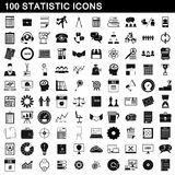 100 statistic icons set, simple style. 100 statistic icons set in simple style for any design vector illustration Royalty Free Stock Photos