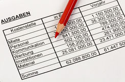 Statistic numbers with a red pencil. German. Stock Photos