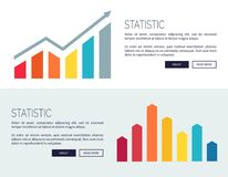 Statistic Posters with Growing Financial Infographic. Charts, analitics balance with rises and falls bars vector illustration web banners set Stock Images