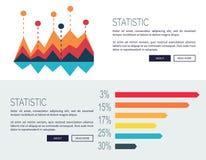 Statistic Presentation Colored Web Page Design. Statistic representation design for web page with colorful bar graphs. Vector illustration designed for web site Royalty Free Stock Images