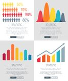 Statistic Presentation Set of Web Page Designs. Statistic representation set of four web page designs with colorful bar graphs. Vector illustration of data with Royalty Free Stock Images