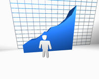 Statistic success and growth concept. Man in front of big 3d chart Stock Images
