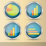 Statistic vector elements. Illustration of statistic elements in four variations Stock Image
