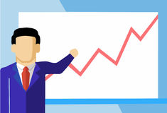 Statistic Vector. Vector illustration of men, which looks at the statistic Royalty Free Stock Images