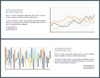 Statistic Web Pages, Charts and Infographics Set. Vector. Scheme with lines and curves, scales with results in visual form. Infochart design and text stock illustration