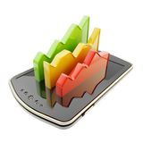 Statistical data indicators over phone screen surface Royalty Free Stock Photo