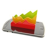 Statistical data over smart phone screen surface Stock Photos
