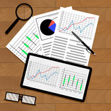 Statistical data on table. Annual chart and graphic on tablet, document for analysis and forecast, vector illustration Stock Photo