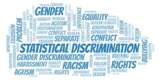 Statistical Discrimination - type of discrimination - word cloud. Wordcloud made with text only vector illustration