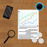 Statistical economic infographic. Research process on workplace, vector illustration income, finance Royalty Free Stock Photo
