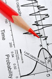 Statistical and engineering chart. Statistical engineering chart and a red pencil, shown as analysis for engineering, production, capacity, or related industrial Royalty Free Stock Photo